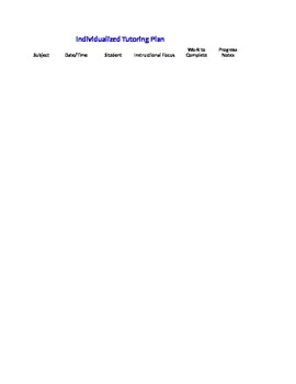 Tutoring Documentation Form