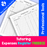 Tutoring Expenses Register FREEBIE {Be a Professional Series}