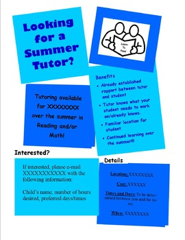 tutor flyer teaching resources teachers pay teachers