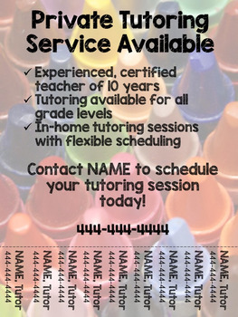 Tutoring Flyer (Crayon Theme), Editable