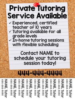Tutoring Flyer Lined Paper Theme Editable by Sparkle Fingers TpT
