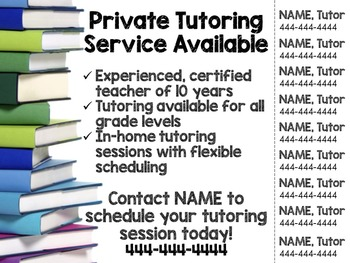 Tutoring Flyer (Several Themes), Editable
