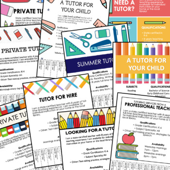 tutoring flyer templates 10 editable posters a by the lost teacher