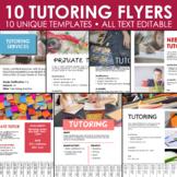 Tutoring Flyer Templates - 10 Editable Posters (B)