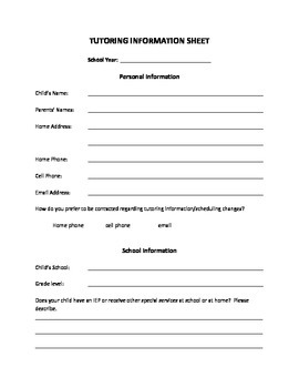 Tutoring Information Sheet for Parents