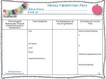 Tutoring Lesson Planner - Literacy