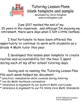 Tutoring Lesson Plans Template Google Doc