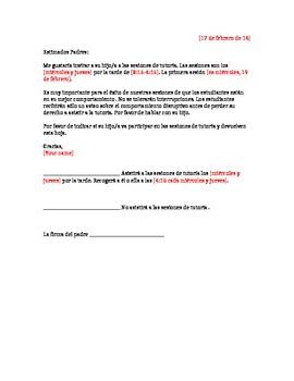Tutoring Letter - Spanish (Editable)