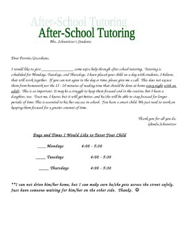 Tutoring Note to Parents