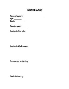 Tutoring Parent Survey (editable!)