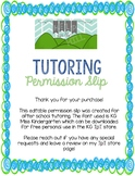 Tutoring Permission Slip