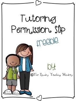 Tutoring Permission Slip {FREEBIE}