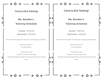 Tutoring Poster, Flyers and Incentive Records Sheet Printables Set