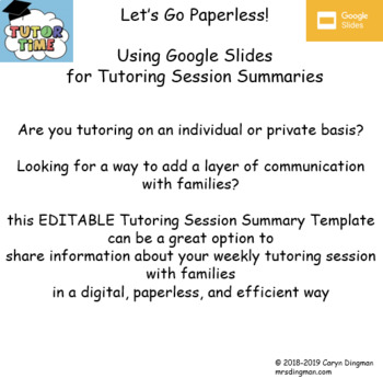 tutoring session summary template using google slides or powerpoint