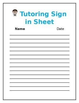 Tutoring Sign In Sheet By Camp Noah Teachers Pay Teachers