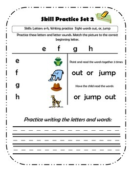 Tutoring Skill Practice #2 - Lowercase letters and Sight Words