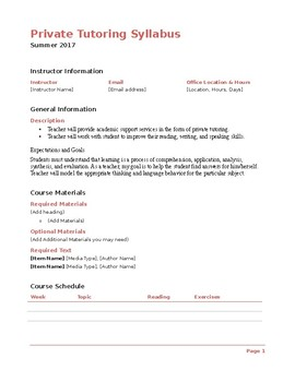 Tutoring Syllabus (Editable) free