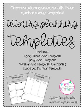 tutoring plan templates by the primary party heather planchon tpt