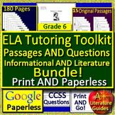 Summer Tutoring Toolkit: 6th Grade Tutoring Resources ELA Reading