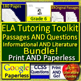 6th Grade Test Prep Tutoring Toolkit - Resources for ELA and Reading