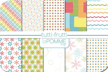 Tutti-Frutti Rainbow Bright Colors Patterned Digital Paper Pack