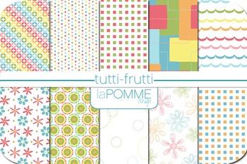 Tutti-Frutti Rainbow Bright Colors Patterned Digital Paper Pack
