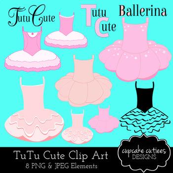 Tutu Ballerina Clip Art Dance Digital Graphics CU