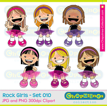 Tutu Girls Clipart, girls with tutu illustrations, ballet clipart, rock Set 010