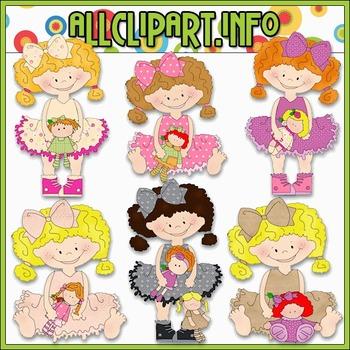 Tutu Girls Love Dolls Clip Art - Cheryl Seslar Clip Art