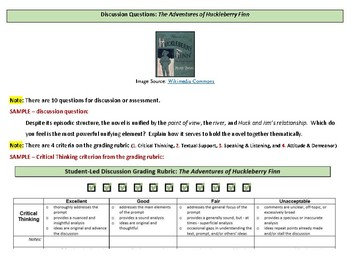 Twain's Adventures of Huckleberry Finn 10 Discussion Questions with Grade Rubric