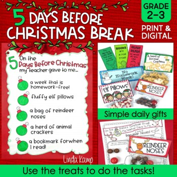 hristmas Activities & Countdown Gifts 5 Days Before Christmas Break Gr 2-3
