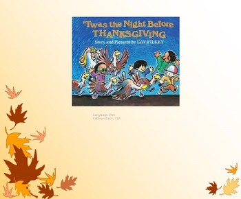 Twas The Night Before Thanksgiving PPT language unit