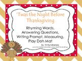 'Twas The Night Before Thanksgiving - Rhyming Word, Measur