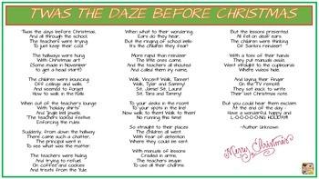 Twas the DAZE Before Christmas Poem