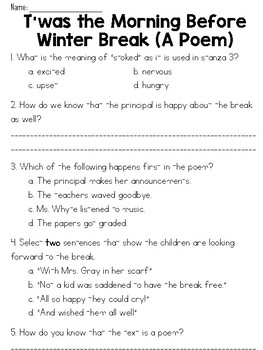Twas the Morning Before Winter Break Poem & Question Set - ELA FSA-Style Test