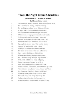 'Twas the Night Before Christmas Classroom Poetry Creation Couplets