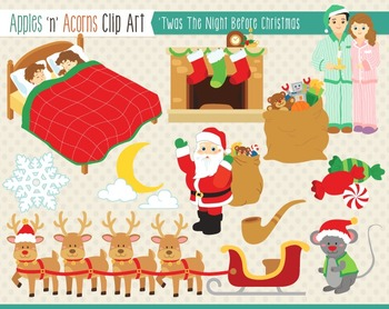 'Twas the Night Before Christmas Clip Art - color and outlines