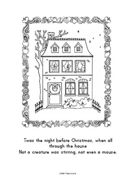 graphic relating to Twas the Night Before Christmas Printable identified as Twas the Night time Just before Xmas Coloring E book