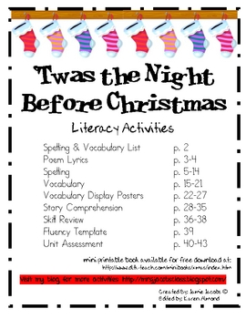 'Twas the Night Before Christmas - Literacy Activities