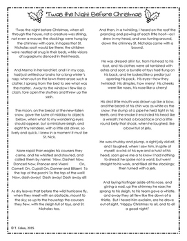 Twas the Night Before Christmas Literature Pamphlet Activity Foldable