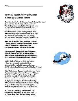 Twas the Night Before Christmas Vocabulary and Poem Activity by ...
