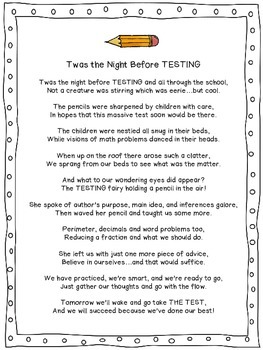 """Twas the Night Before Testing"" Poem!"