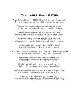 Twas the Night Before Testing! *EDITABLE*