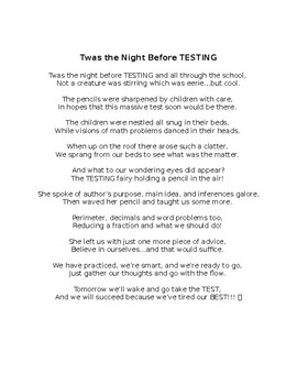 Twas the Night Before Testing! *EDITABLE*
