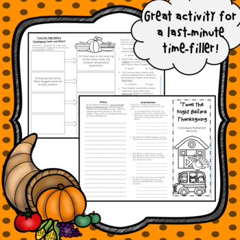Twas the Night Before Thanksgiving Literature Pamphlet Foldable Activity