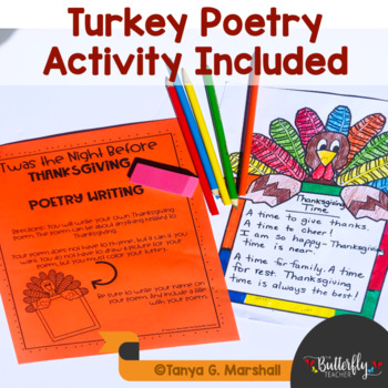 Twas the Night Before Thanksgiving Read Aloud & Literacy Activities