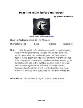 Twas the Night before Halloween - Rhyming Small Group Reader's Theater