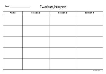 Tweaking Sheet (Support Assessment Sheet)