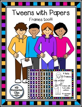 Tweens Holding Papers with Frames - Clip Art