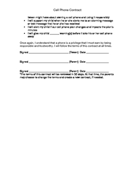Tween\/Teen Cell Phone Contract by Jennifer Corral Soccio  TpT